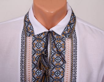 Hand embroidered cotton shirt for men embroidered shirt embrodery vyshyvanka for men ukrainian embroidery ukrainian wedding ukrainian style