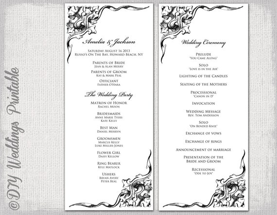 Wedding Program Template Black  White Wedding Program Black