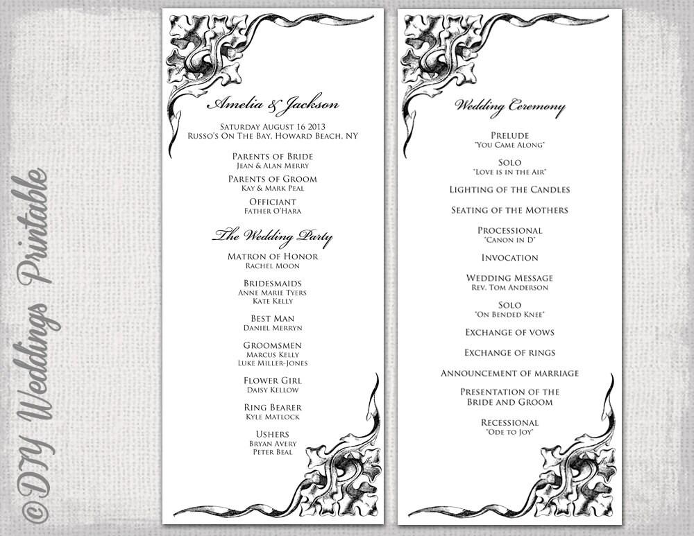 wedding program template black white wedding program black. Black Bedroom Furniture Sets. Home Design Ideas