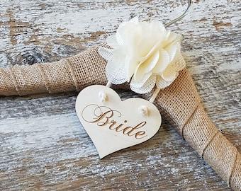 Rustic Chic Wedding Dress Hangers,  Bride Hanger, Burlap Hanger, Personalized