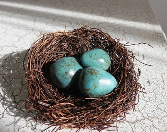twig nest with three turquoise blue speckled porcelain eggs spring easter terrarium display