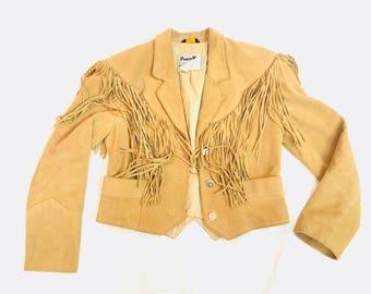 Vintage 80's caramel cropped Fringe Western Leather Jacket coat 8  M tan