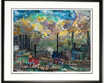 Steel Mill art, Pittsburgh Steel wall art, Historic Pittsburgh art, Industrial Age art, by Johno Prascak, Johnos Art Studio