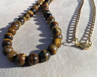 "35"" Necklace, 8 mm Semi Precious Tigereys Beads, Antique Gold Spacers, Gold Chain, Lobster Clasp"