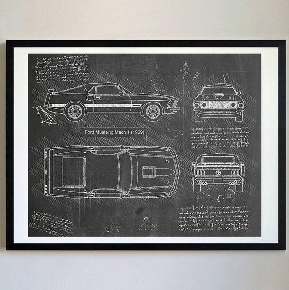 Ford mustang mach 1 1969 da vinci sketch mustang artwork like this item malvernweather Choice Image