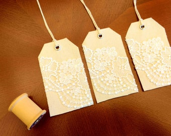 Canvas and Lace gift tags