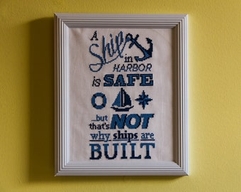 A Ship in Harbor - Cross-Stitch Pattern PDF download