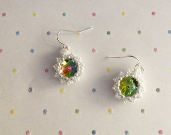 Crystal earrings, Beautiful Beaded Earrings, Crystal Rivoli Earrings, Pretty Earrings, Gift Idea, Gifts for Women, Birthday Gift,