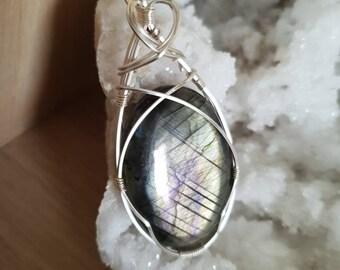 Labradorite on silver plated copper wire