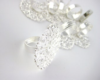 1pcs Silver Filigree Ring Blanks - Silver Ring Blank Ring Findings - 30mm 1inch Glue Flat Pad - DIY Ring Base Design Craft Supply C33