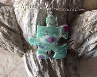 Ruby In Fuschite Gemstone Puzzle Piece Necklace.  Autism Awareness. Jewelry. .925 Silver.