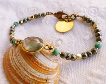 Women stone bracelet natural semi precious gold plated Oval Pendant and gold metal