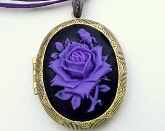 Large, Cameo, Antiqued Gold  Locket Necklace, Lavender Rose, Onyx Black Background, Adjustable Ribbon Cord Necklace