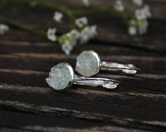 Aquamarine Sterling Silver Earrings /Raw Crystal Earrings/ Dainty Romantic Earrings / Delicate Drop Everyday Earrings