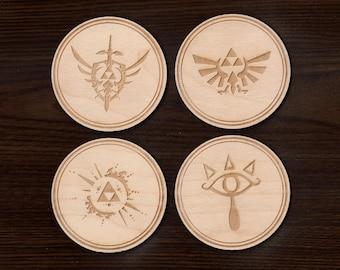 Zelda Coasters - Legend of Zelda set of 4 coasters - Wooden Zelda Coasters - Hylian Shield - Gamers - Nintendo coasters - Zelda Triforce