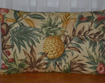 Pineapple Pillow Cover, Porch Pillow Cover, Beach Pillow Cover, Pineapple and Palm Leaf Pillow Cover