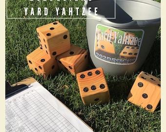 Yard Dice- Yard Yahtzee- Oversized wood dice with a tumbling bucket and scoresheets