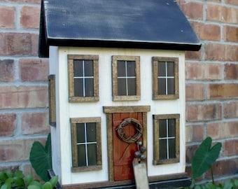 Country Folk Art Primitive Cottage Saltbox Farmhouse Birdhouse
