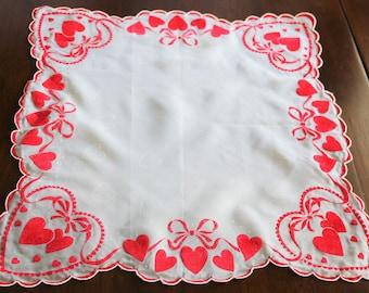 Valentines Handkerchief, Vintage Valentine, Fancy Ladies Handkerchief, Valentine Hanky, Valentine Hankie, Red Hearts, Gift for Her