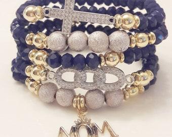 Navy Blue Faceted Cubic Zirconia Gold Filled Charm  Bead Bracelet Set