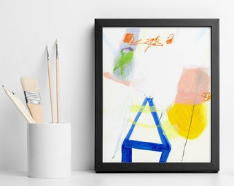 ABSTRACT PAINTING Small Original art Colorful Bold Pink Blue and Yellow House wall art wedding gift by Duealberi