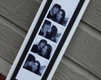 """Photo Booth Picture Frame - Holds a 2"""" x 8.5"""" Photo Strip - Wood - White & Black"""