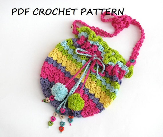 Colorful Girls Bag Purse Crochet Pattern Pdfeasy Great For
