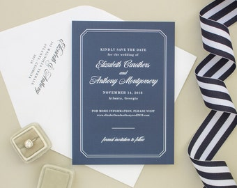 Formal Save the Date Card for Nautical Wedding, Navy Blue Wedding Save the Dates, Non Photo Engagement Announcement   Dashing