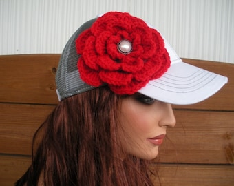 Womens Hat Trucker Hat Baseball Hat Cap Summer Fashion Accessories Women Sport Hat in White and Gray with Red Crochet Flower