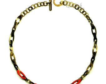 Horn & Lacquer Chain Necklace - Q13190-O