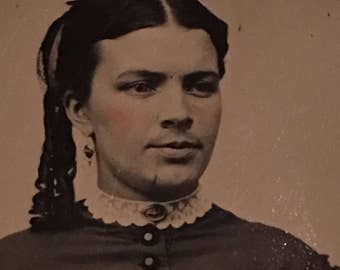 Mustache Beauty Hirsute Hairy Woman Antique Tintype Photo Mary Trufant