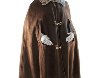 RARE Bonnie Cashin Cape with Curly Lamb Collar Brown Suede Leather 70s OS