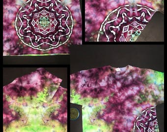 Ice Dye Side Mandala T-Shirt,  Tie Dye Purple, Green and Black Adult 2xl