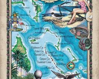 Bahamas map Etsy
