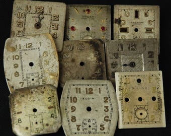Vintage Antique Watch Dials Steampunk  Faces Parts Mixed Media Assemblage Scrapbooking LR 16