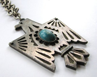 vintage thunderbird necklace  . tribal inspired pendant necklace . costume jewelry . hippie necklace