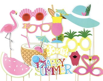 Summer Party Photo Booth Props Kit Flamingo Pineapple for Luau Tiki Party Hawaiian party