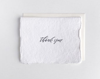 Thank You - Letterpress Card on Handmade Paper