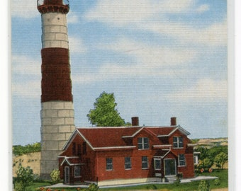 Big Point Sauble Lighthouse Ludington Michigan linen postcard