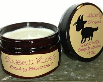Sweet Rose Goat Milk Body Butter, 4oz