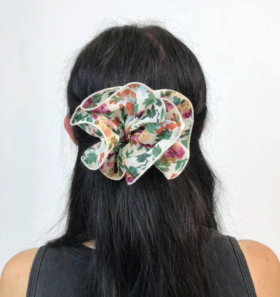 90's Floral Bow Clip French Clip - Romantic Flower Print French Clip Large Bow Hair Barrette - Nineties Hipster Girly Hair Accessory Clip