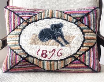 1876 Primitive Dog Hooked Rug Pattern