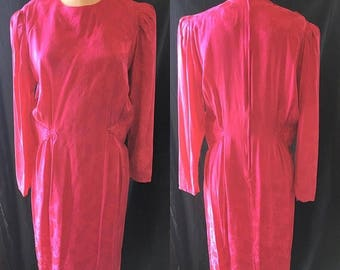 35% off Sale Mod retro raspberry silk dress 1980 medium large