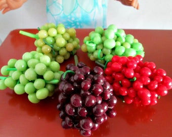 Polymer Clay Miniature Food, Grapes, 1/3 Scale Miniature Food for American Girl Dolls, marysremedies