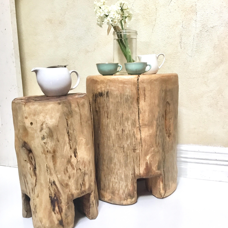 Stump stool table log furniture Perth Blackbutt wooden rustic table