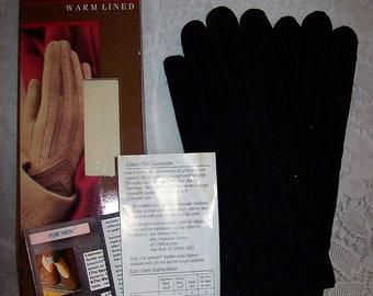Vintage Mens Black Suede Leather & Fabric Isotoner Gloves NOS Medium Only 15 USD