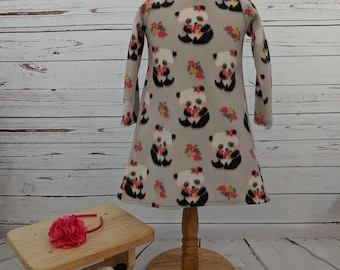 Panda Fleece Dress with matching Headband