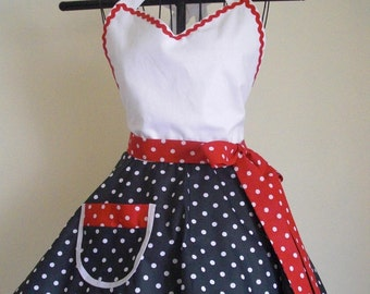 Sweetheart Retro Apron Black and White Red and White Polka Dots Circular Flirty Skirt