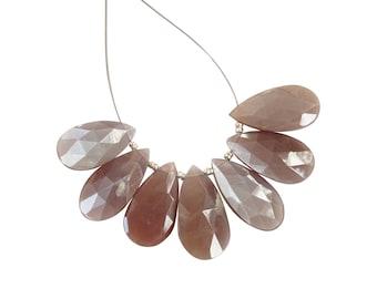 Brown Moonstone  Faceted Pears , Brown Moonstone Briolettes, Coffee Moonstone Pears Briolettes (JGBO24)