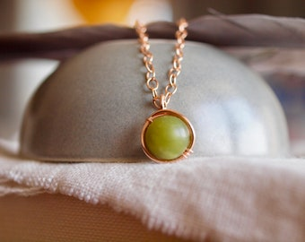 Necklace for Women, Olive green, serpentine jade pendant necklace in 14K rose gold chain